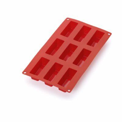 Forma para 9 bolos retangulares em silicone vermelho