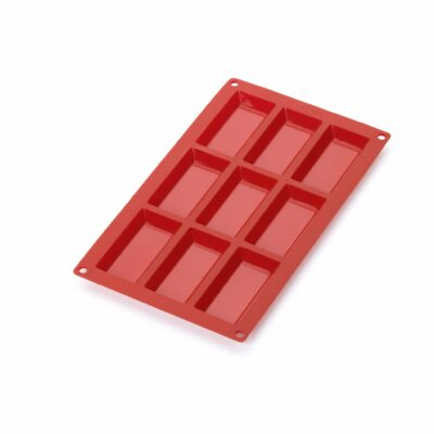 Forma para 9 financier em silicone vermelho