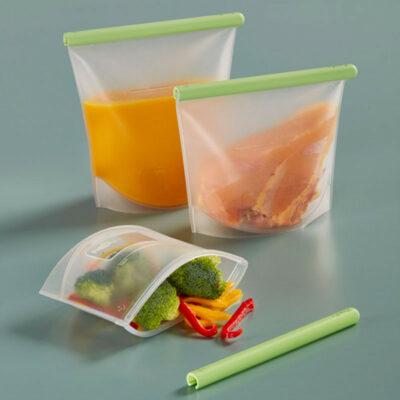 Kit 3 sacos em silicone reutilizáveis