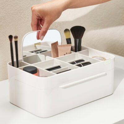 Organizador de cosméticos grande com espelho removível