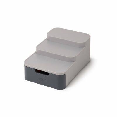Organizador compacto com diferentes níveis e gaveta